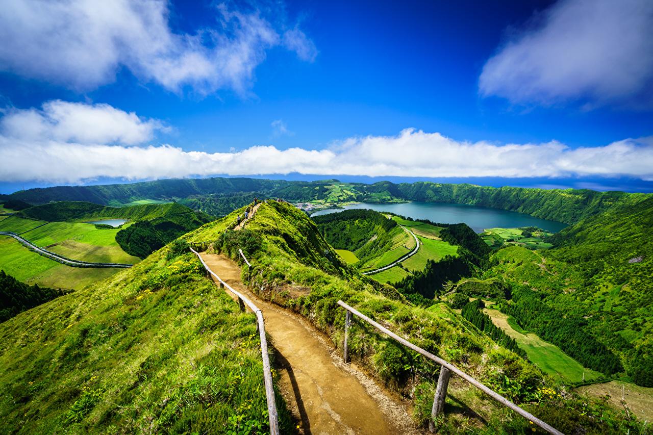 Desktop Hintergrundbilder Portugal Azores, Miradouro da Boca do Inferno Berg Natur Ozean Himmel Landschaftsfotografie Küste Wolke Gebirge