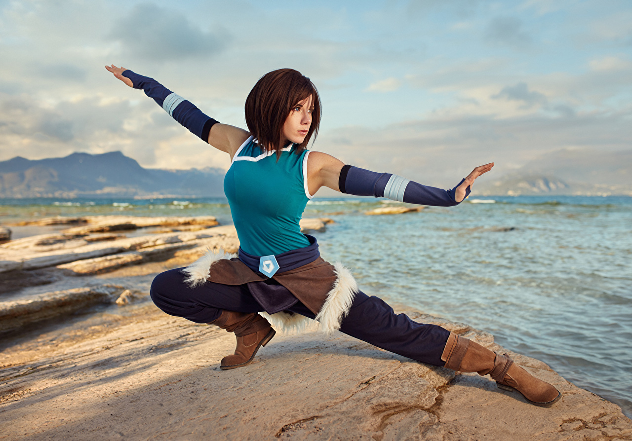 Image Fantasy Mikhail Davydov photographer Korra Cosplay Hands Girls Pose Stones cosplayers costume play female young woman stone posing
