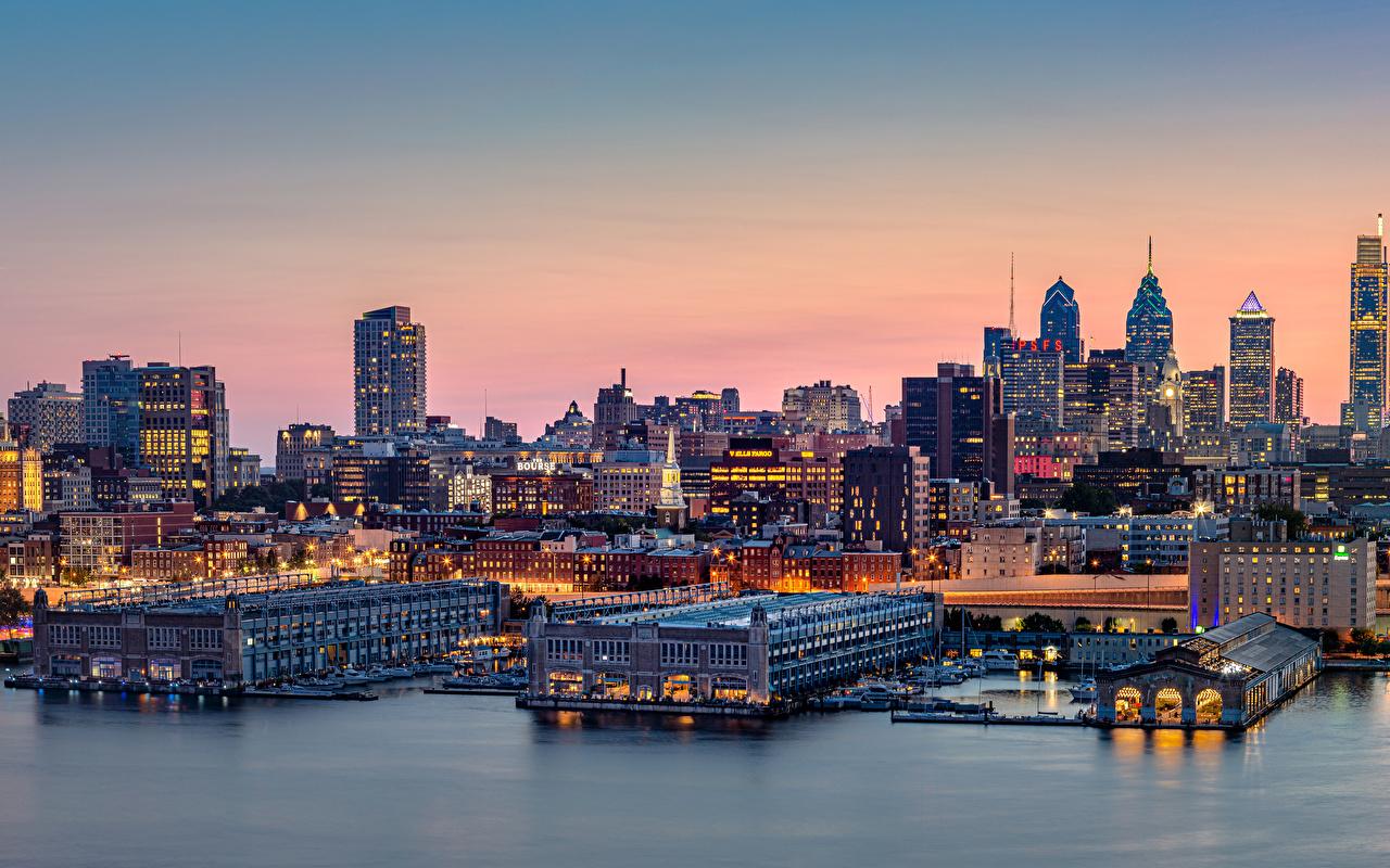 Picture USA Philadelphia river Berth Evening Houses Cities Pier Rivers Marinas Building