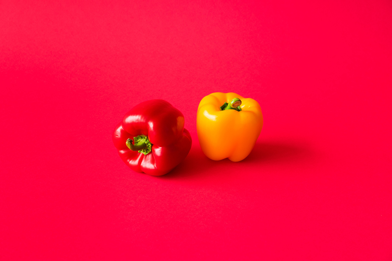 Desktop Wallpapers Two Yellow Red background Food Bell pepper Red 2