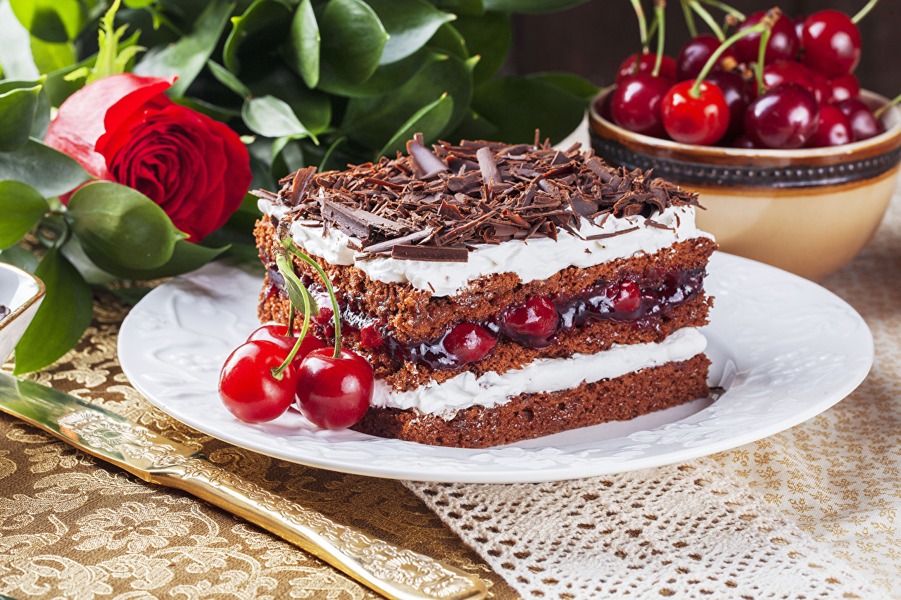 Picture Chocolate Roses Torte Piece Cherry Food Cakes