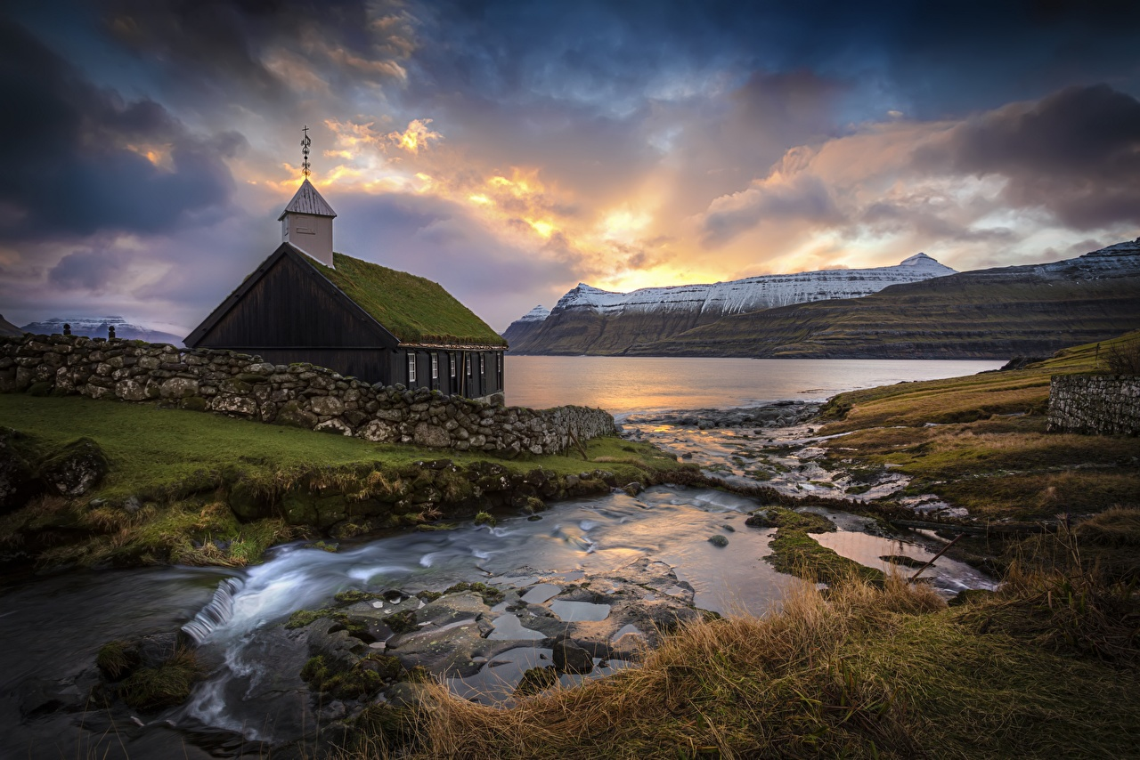 Picture Church Denmark Faroe Islands Nature Mountains Stones Clouds mountain stone