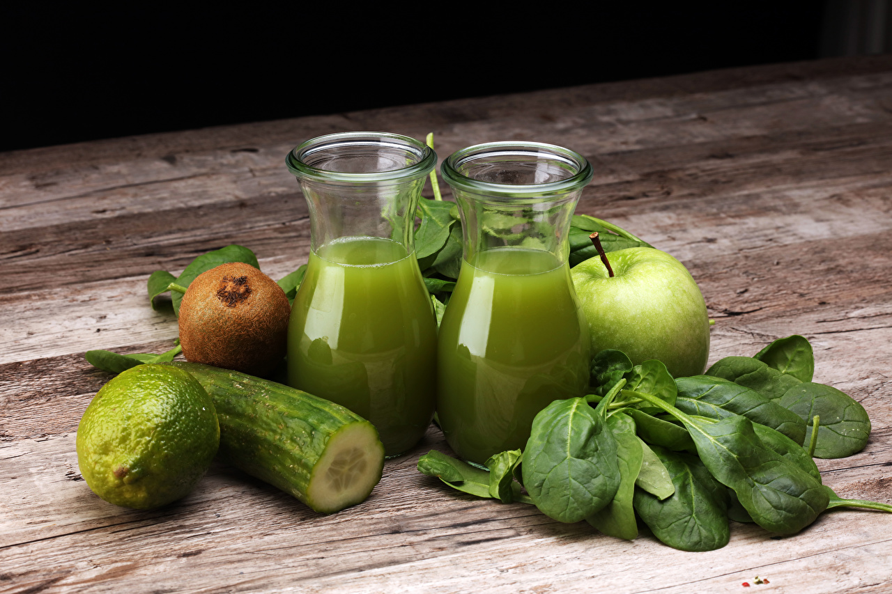 Image Lime Juice Green Cucumbers Kiwi Apples Highball glass Food boards Kiwifruit Chinese gooseberry Wood planks