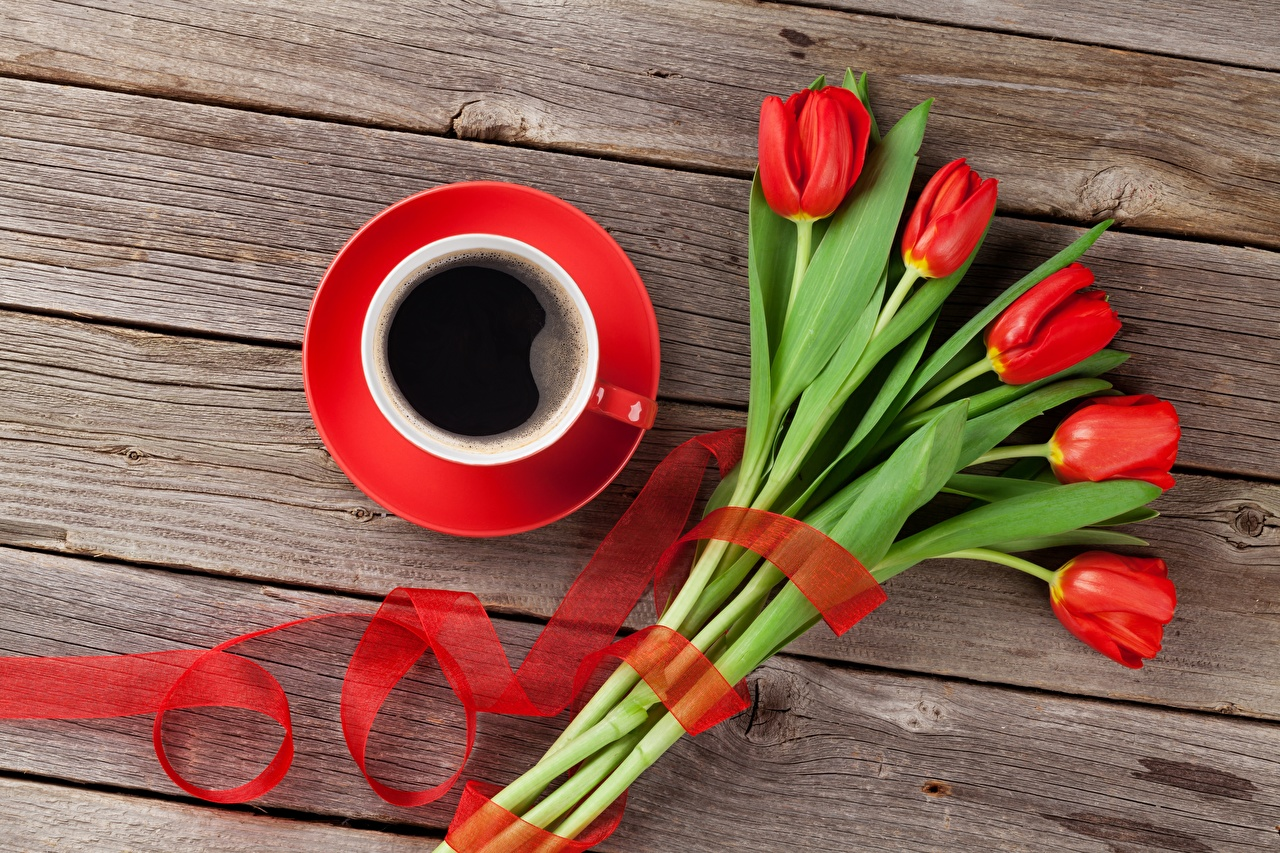 Wallpaper Coffee Tulips Flowers Cup Boards Wood planks