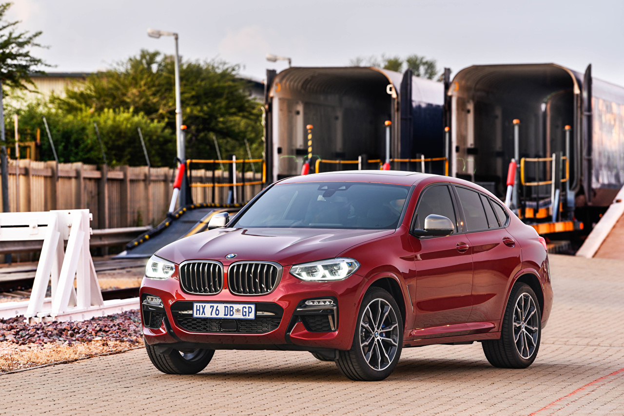 Picture BMW Crossover 2019 X4 M40d dark red Cars CUV maroon burgundy Wine color auto automobile