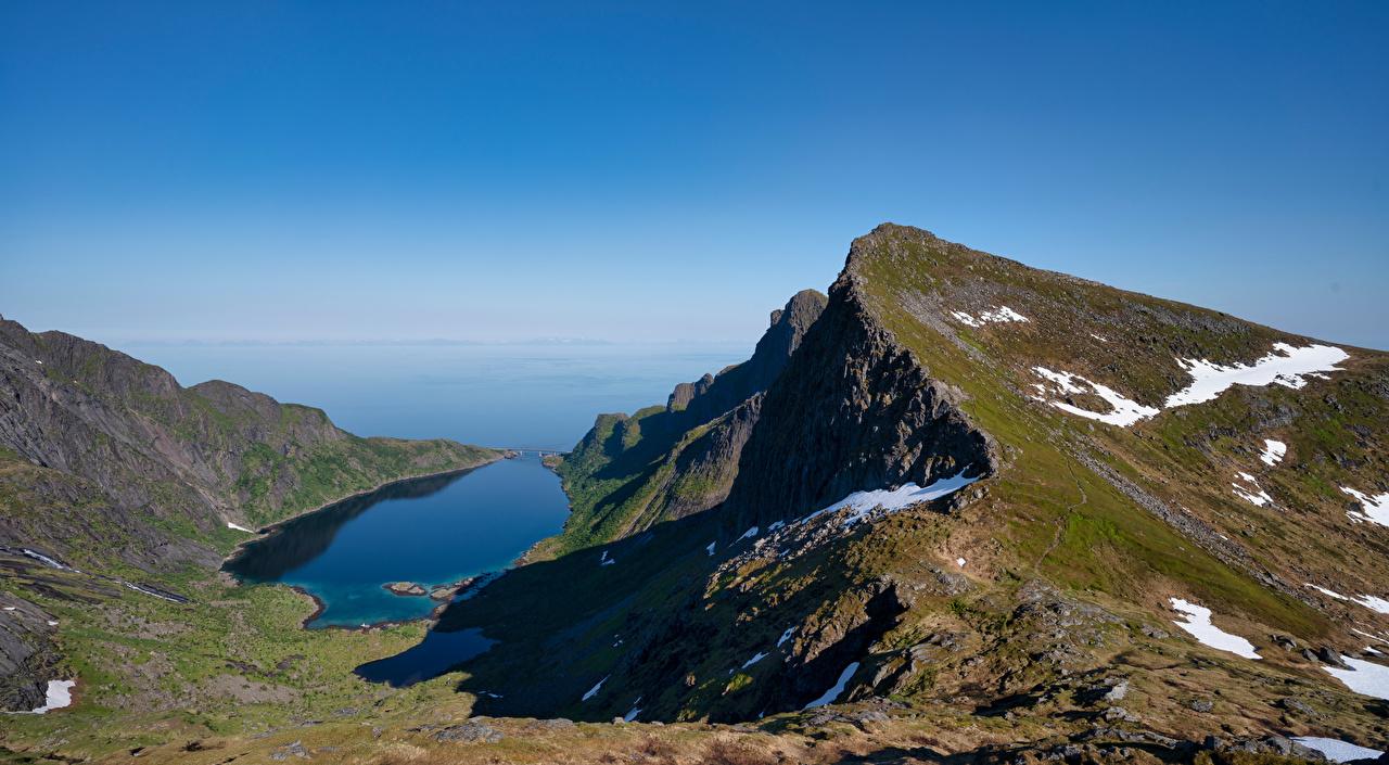 Wallpaper Lofoten Norway Djupfjorden Nature mountain Sky Mountains