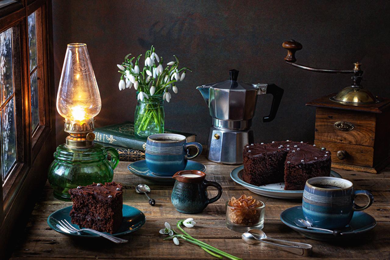 Photos Cakes Coffee Kerosene lamp Piece Kettle Snowdrops Mug Food Still-life Torte paraffin lamp pieces Galanthus