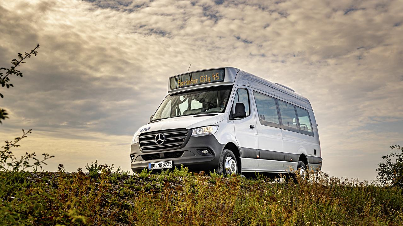 Desktop Hintergrundbilder Omnibus Mercedes-Benz 2019 Sprinter City Weiß automobil auto Autos
