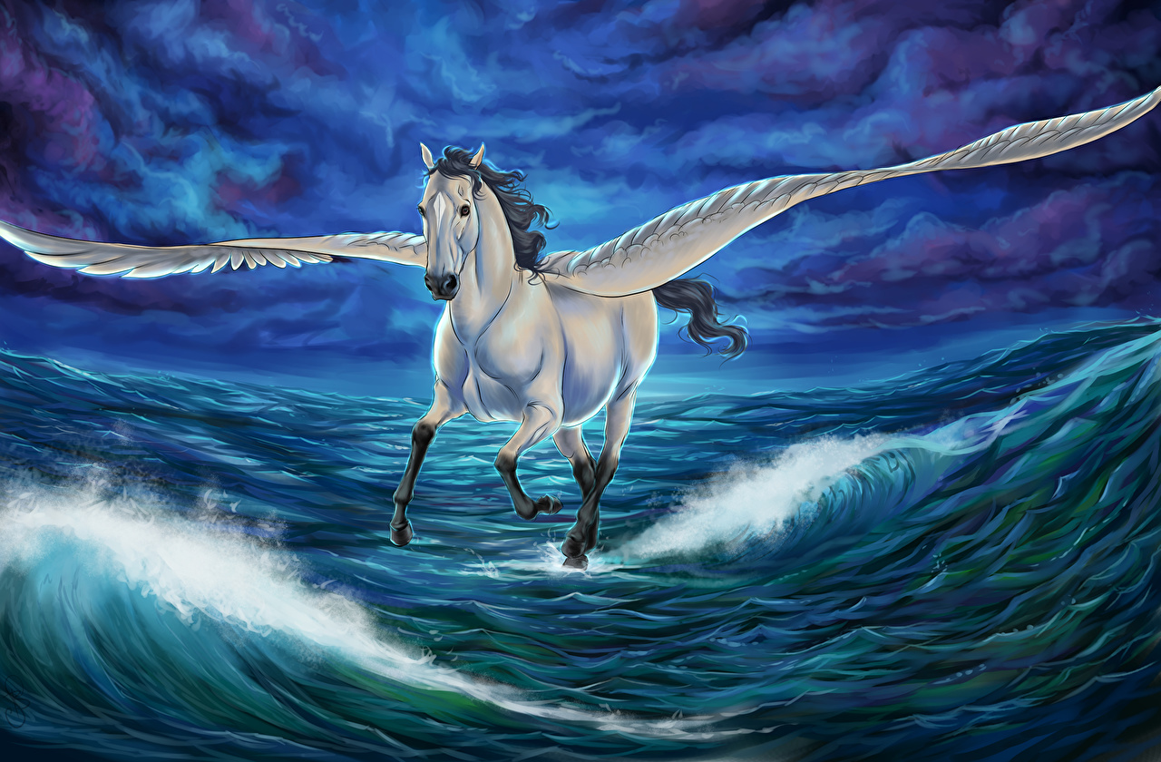 Picture Horses Pegasus Wings Fantasy Waves Water Magical animals