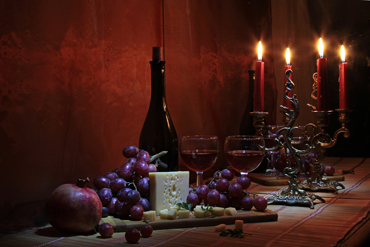 Pictures Wine Grapes Cheese Pomegranate Food Bottle Candles Stemware Still-life
