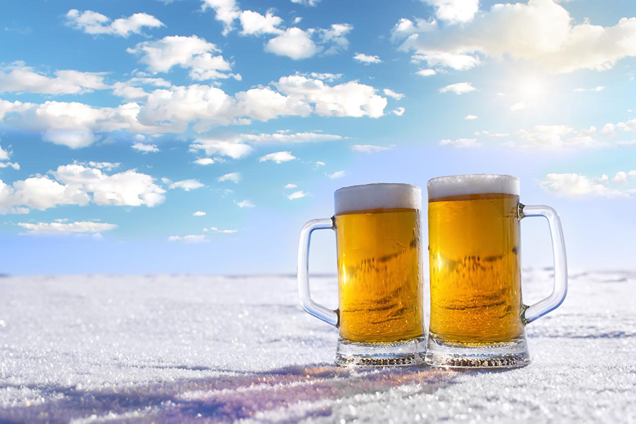 Photo Two Beer Mug Food Foam 2