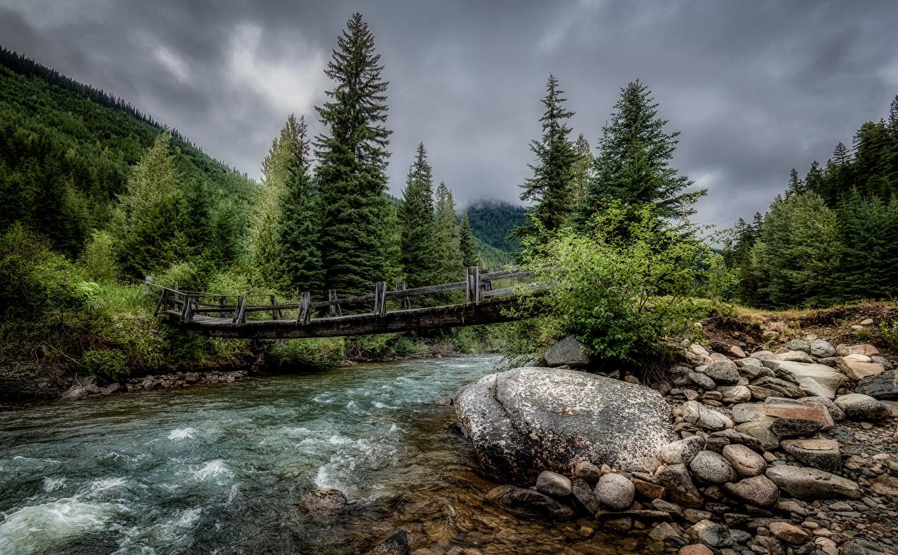 Picture Canada Duffey Lake Provincial Park Nature Bridges Parks forest stone Rivers bridge park Forests river Stones