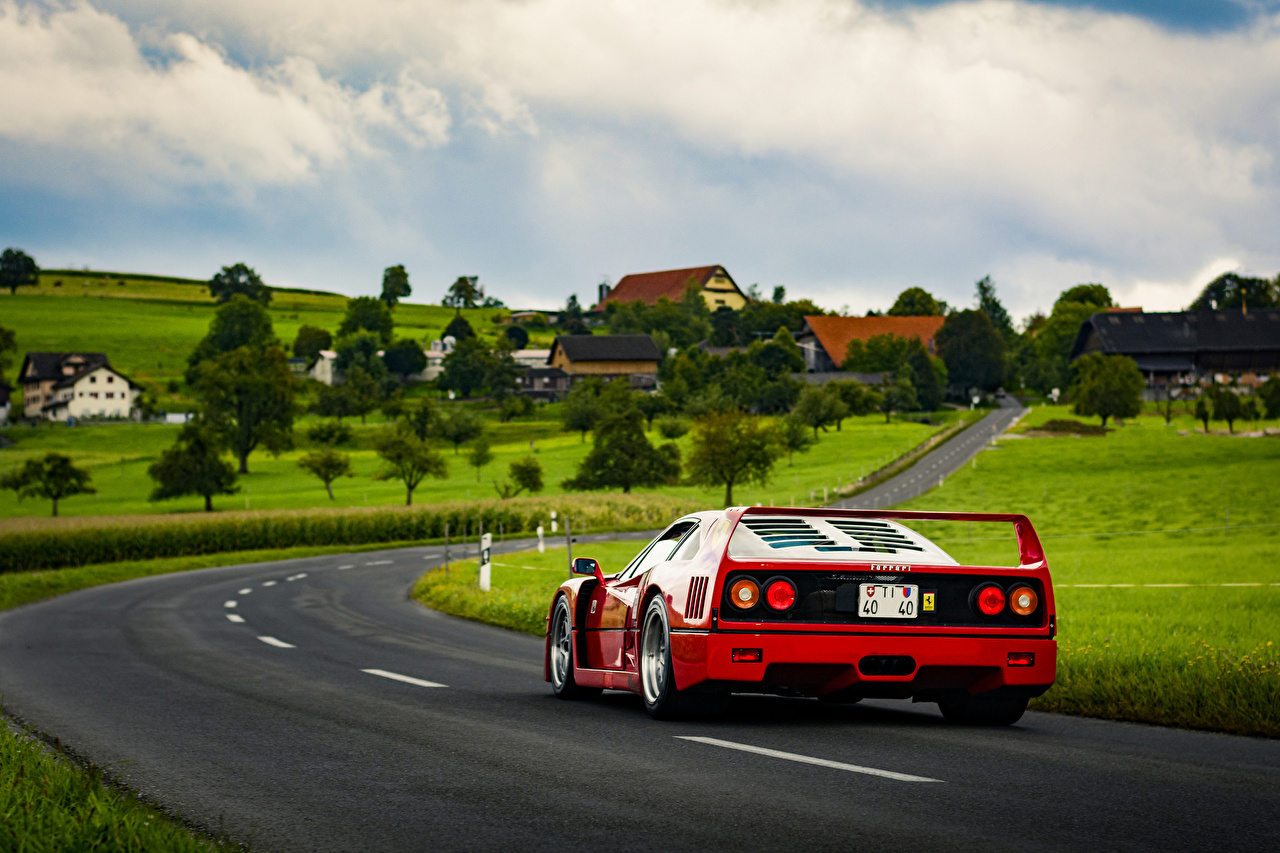 Wallpaper Ferrari F40 Roads Back view automobile