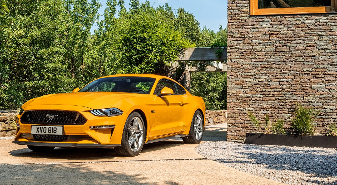 Wallpaper Ford Mustang, GT Fastback, EU-spec, 2017 Sedan Yellow auto Cars automobile