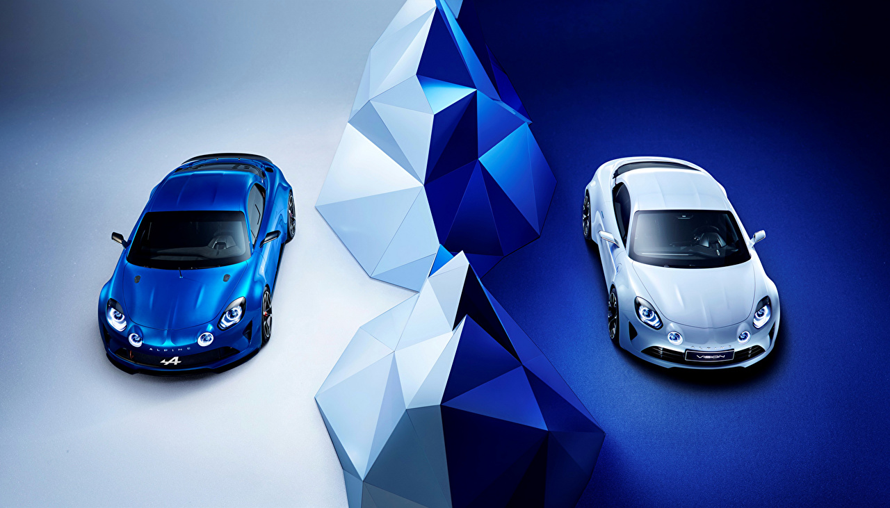 Photos Tuning Renault 2016 Alpine Vision (Renault) Two Blue White auto Metallic 2 Cars automobile