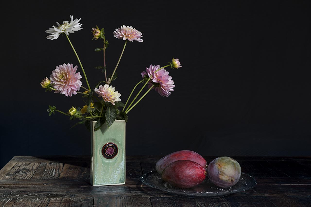 Picture Dahlias Avocado Flowers Vase Still-life Flower-bud Gray background flower