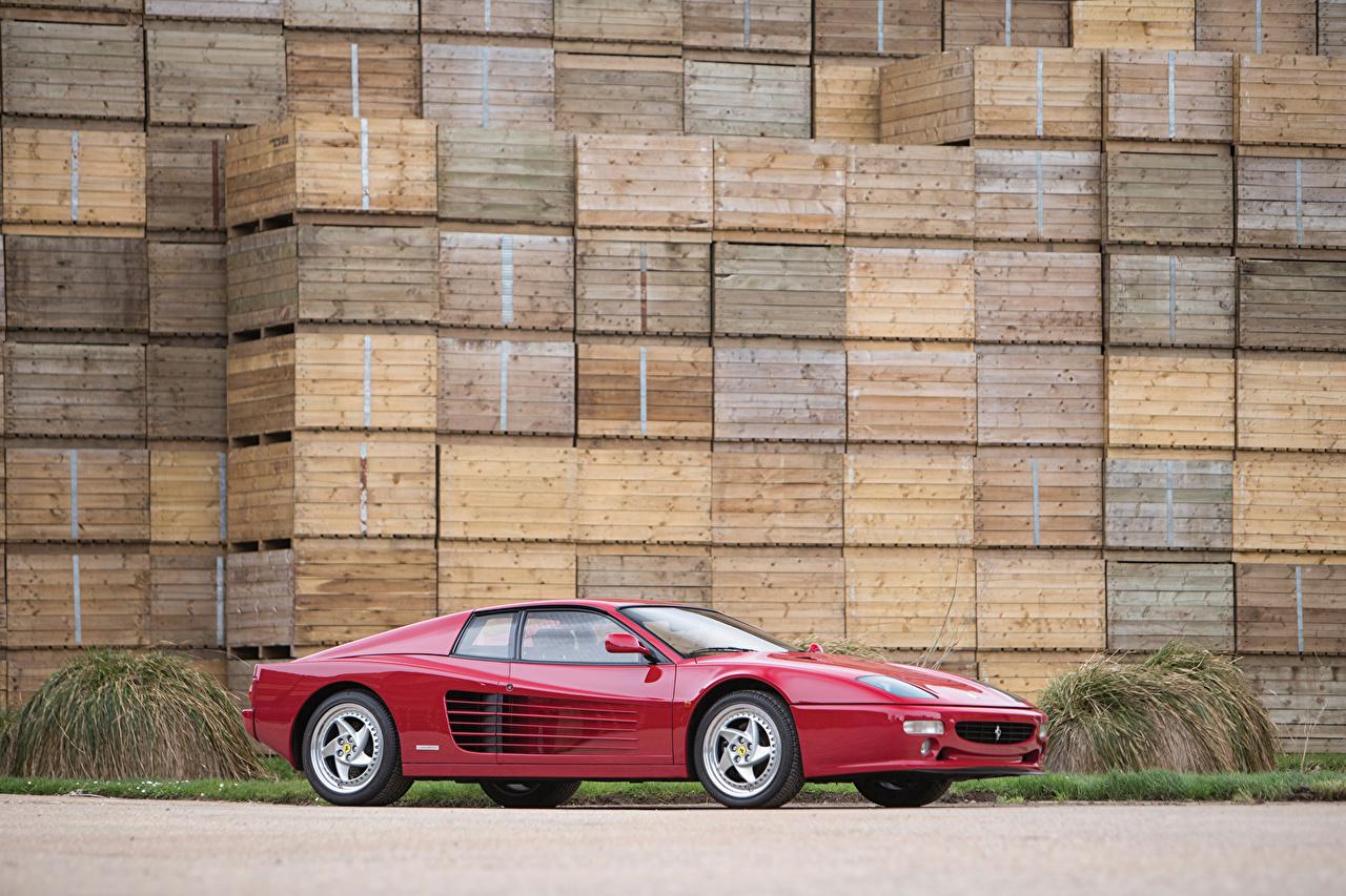 Wallpaper Cars Ferrari 1994-1996 F512 M Pininfarina Side dark red Metallic auto automobile maroon burgundy Wine color