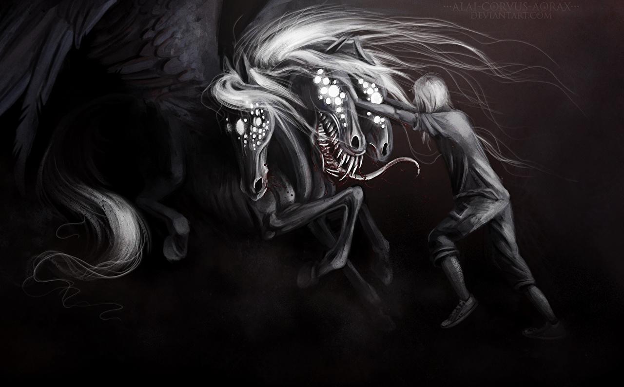 Картинка Монстры Фэнтези Черно белое монстр чудовище Фантастика черно белые