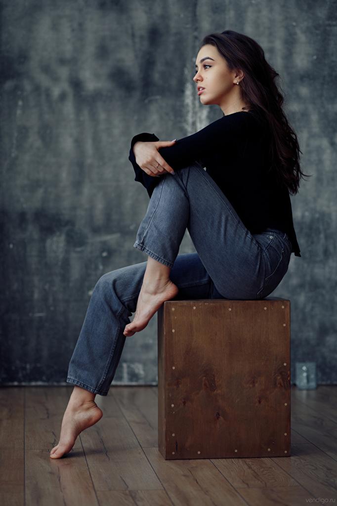 Wallpaper young woman Jeans Evgeniy Bulatov Nastya Goryaeva Brunette girl sit Model  for Mobile phone Girls female Sitting Modelling