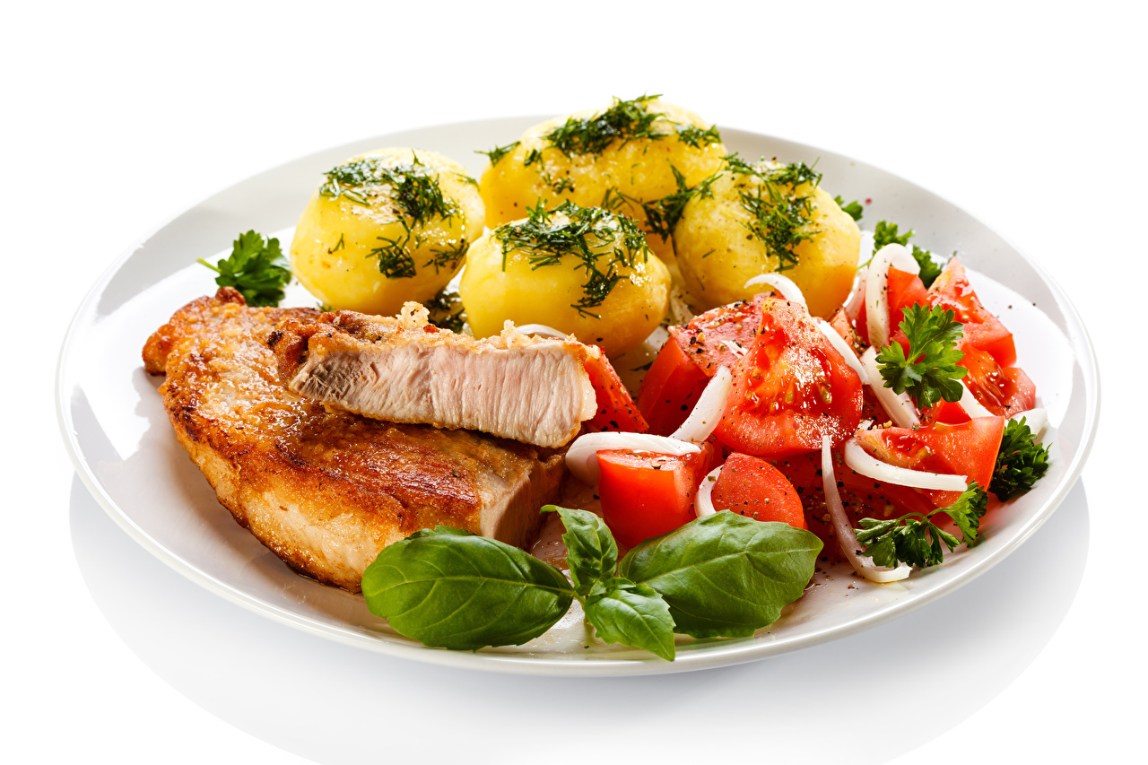 Pictures Potato Food Plate Vegetables Meat products White background The second dishes