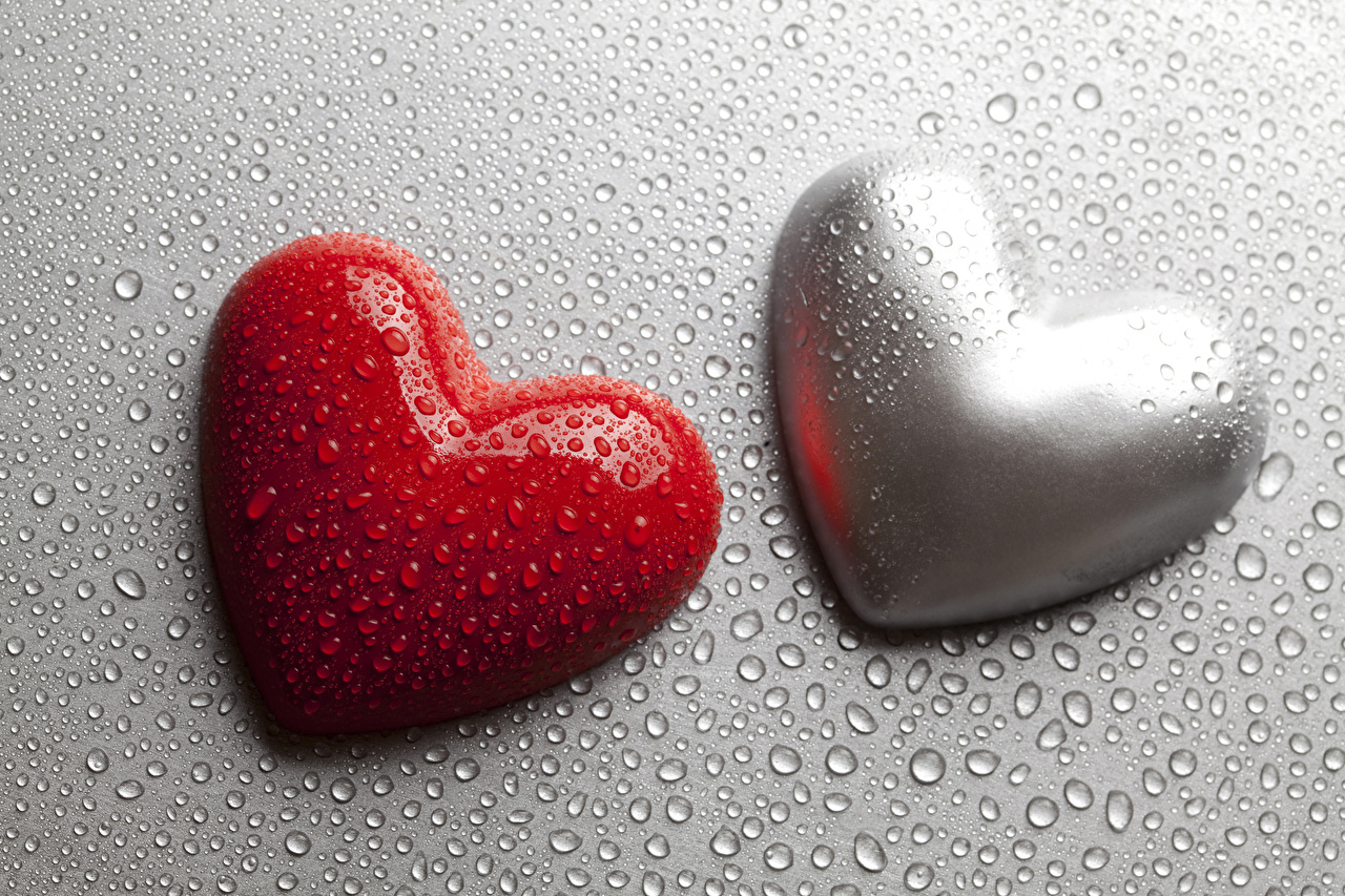 Image Valentine's Day Heart Two Drops Gray background 2