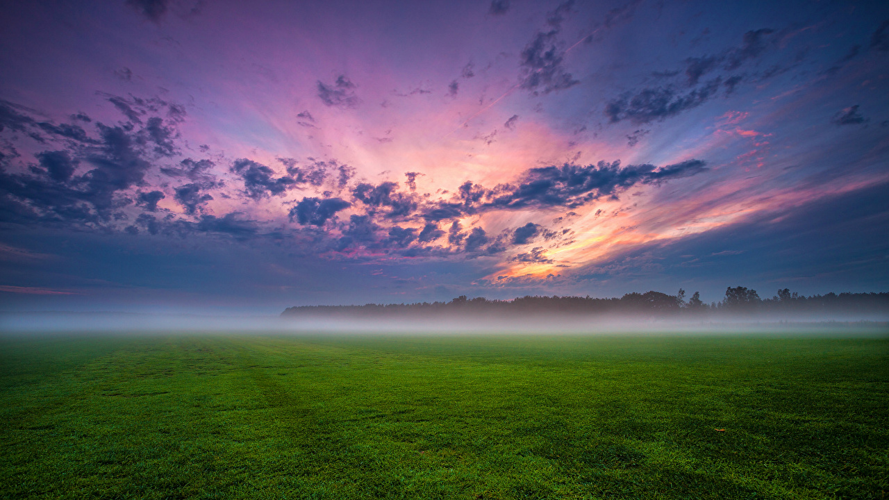 Photos Germany Fog Nature Sky landscape photography Grass Clouds Scenery