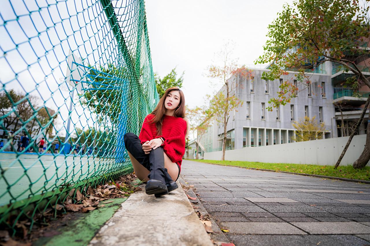 Bilder Stiefel junge frau Bein Zaun Sweatshirt asiatisches sitzt Blick Mädchens junge Frauen Asiaten Asiatische sitzen Sitzend Starren