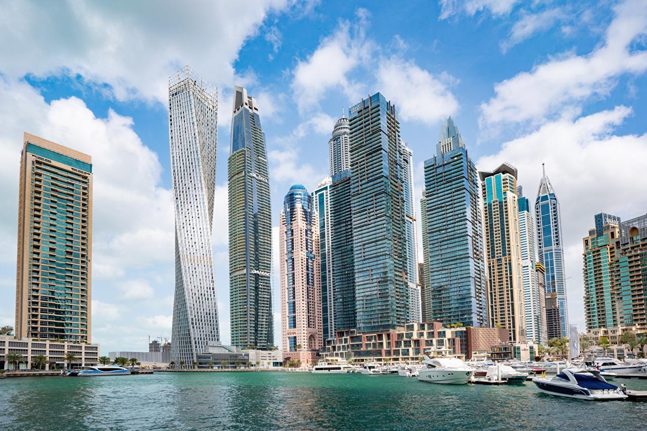 Desktop Wallpapers Emirates UAE Dubai Marina powerboat Skyscrapers Houses Cities speedboat Motorboat Building