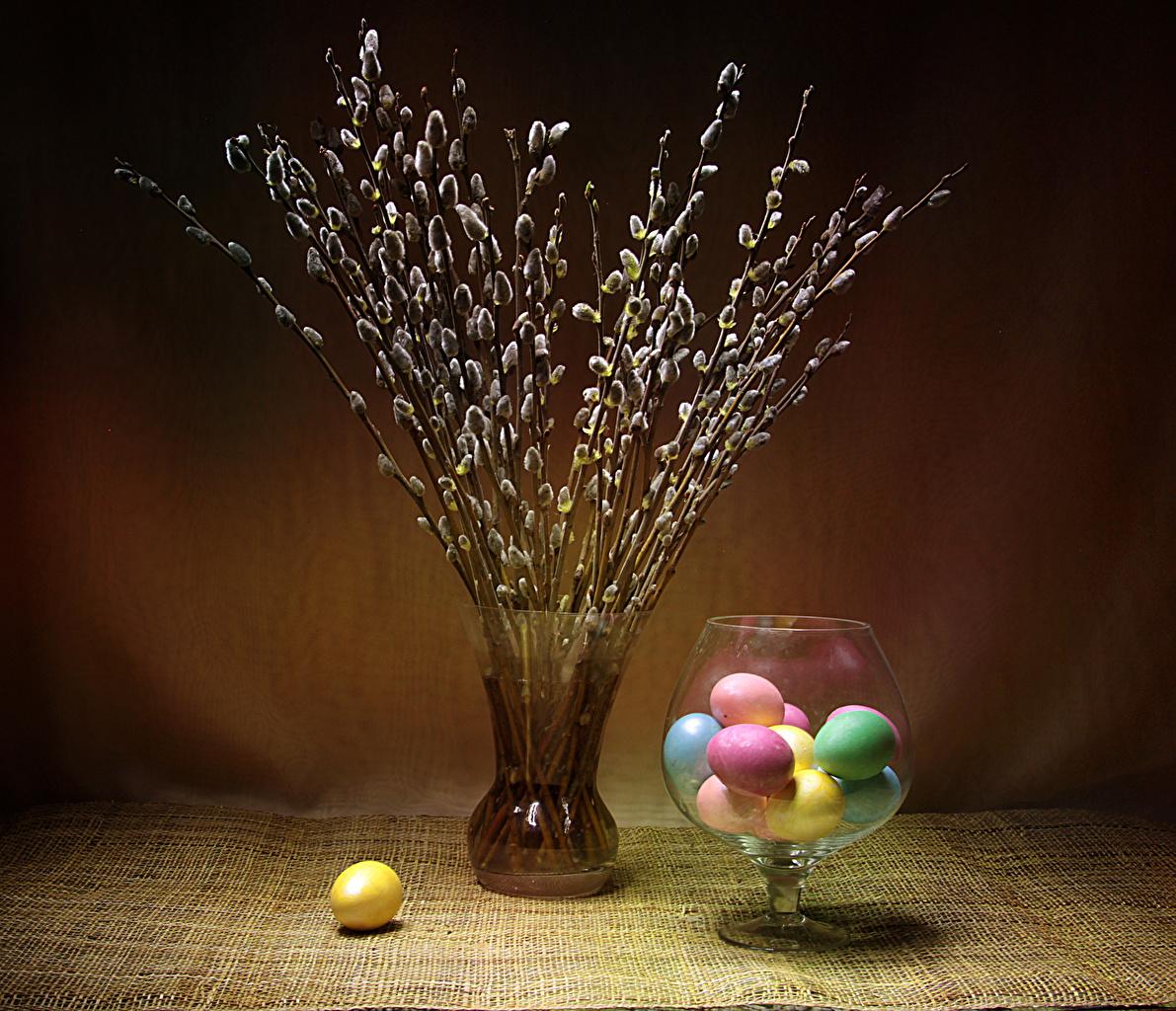 Wallpaper Easter Multicolor Eggs Vase Branches egg