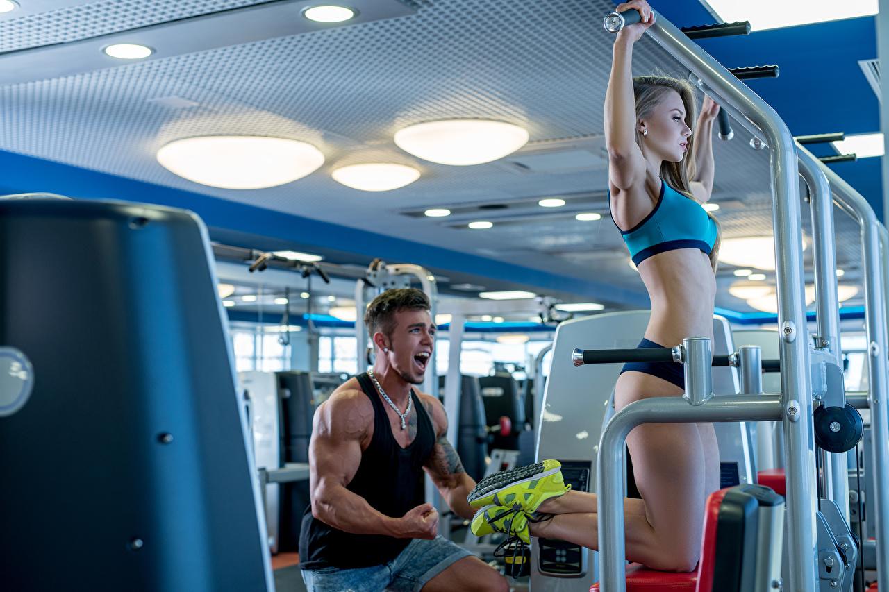 Bilder von Mann Körperliche Aktivität Fitness Sport Mädchens Trainieren