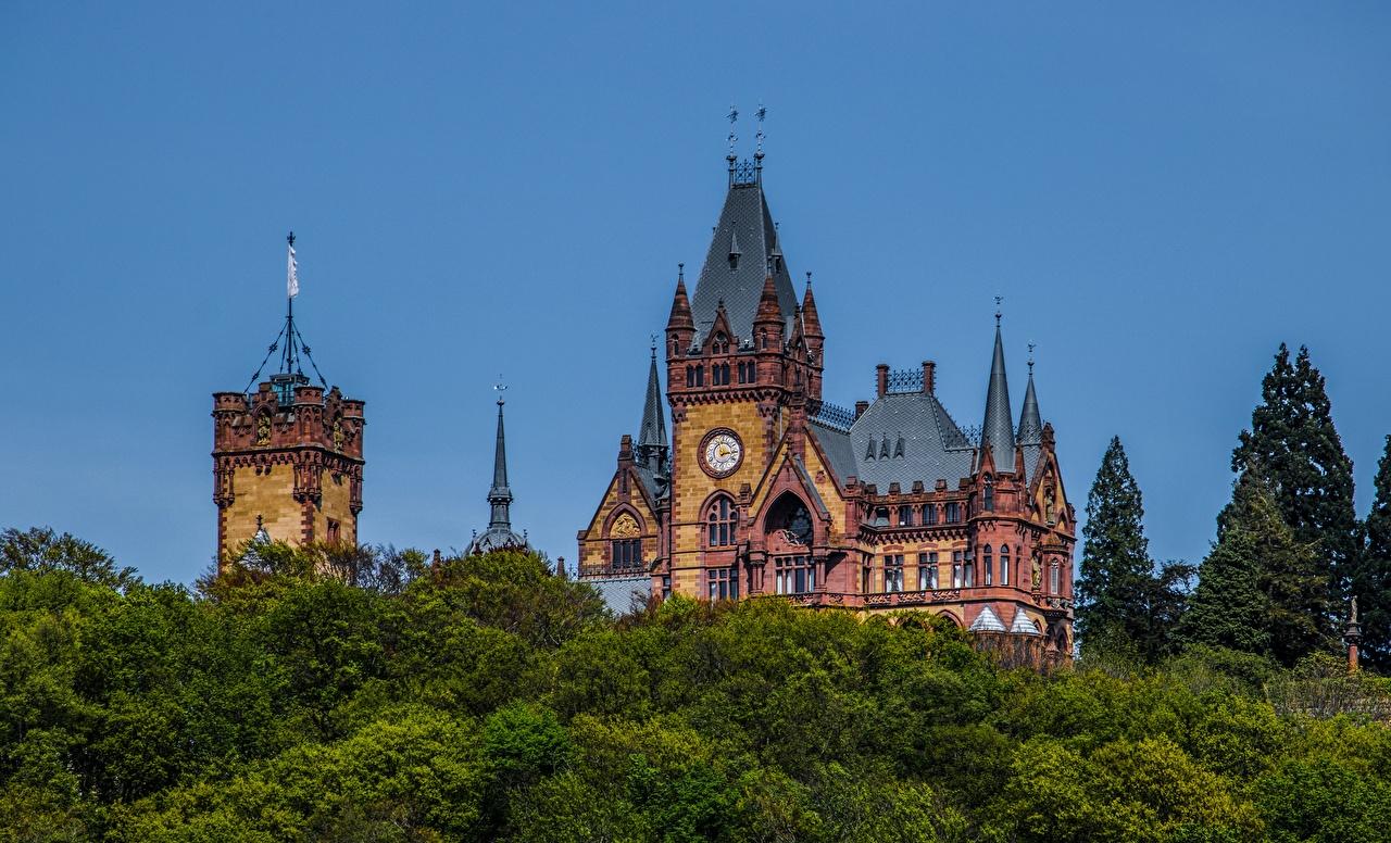 Bilder von Deutschland Turm Drachenburg Castle, North Rhine-Westphalia Burg Natur Bäume Türme