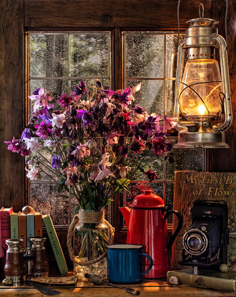 Bilder Fotoapparat Blumensträuße Petroleumlampe Pfeifkessel Vase Buch Becher Lebensmittel Stillleben  für Handy Sträuße Wasserkessel Flötenkessel Bücher das Essen