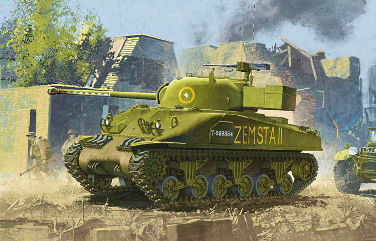 Photo military tank Sherman Firefly ww2 Painting Art M4 Sherman