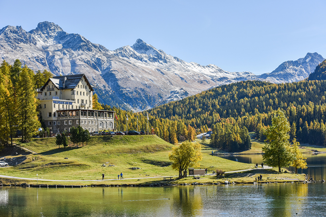 Wallpaper Alps Switzerland Hotel Nature Mountains forest Coast Building mountain Forests Houses