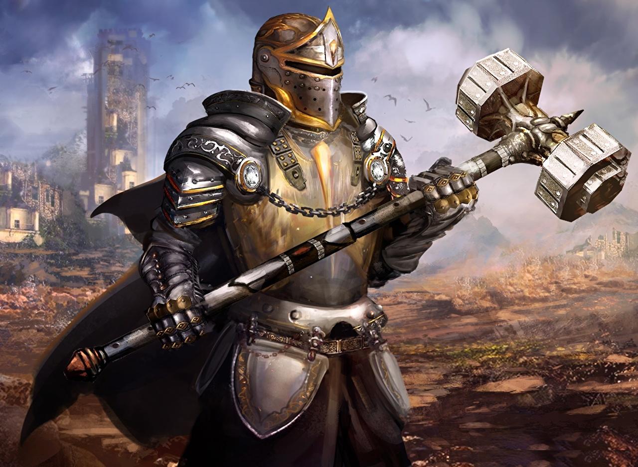 Cavaleiro Guerreiro Duel of Legends Armadura Capacete Martelo de guerra videojogo, guerreiros Jogos Fantasia