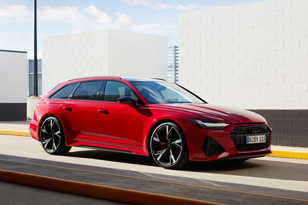 Картинки Ауди Универсал RS 6 Avant AU-spec, 2020 красных авто Металлик Audi Красный красные красная машина машины автомобиль Автомобили