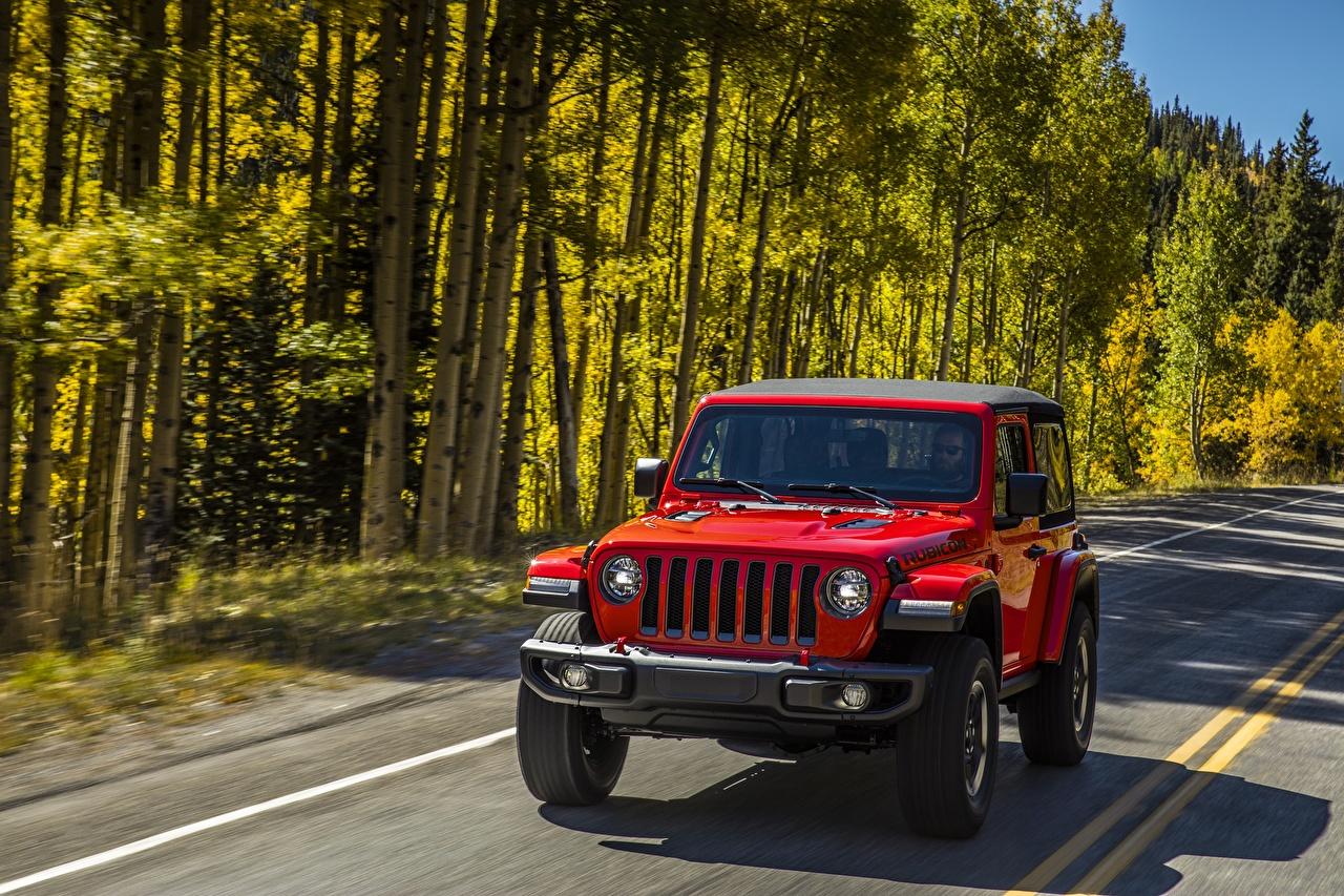 Photos Jeep Wrangler Rubicon 2018 Red Cars auto automobile