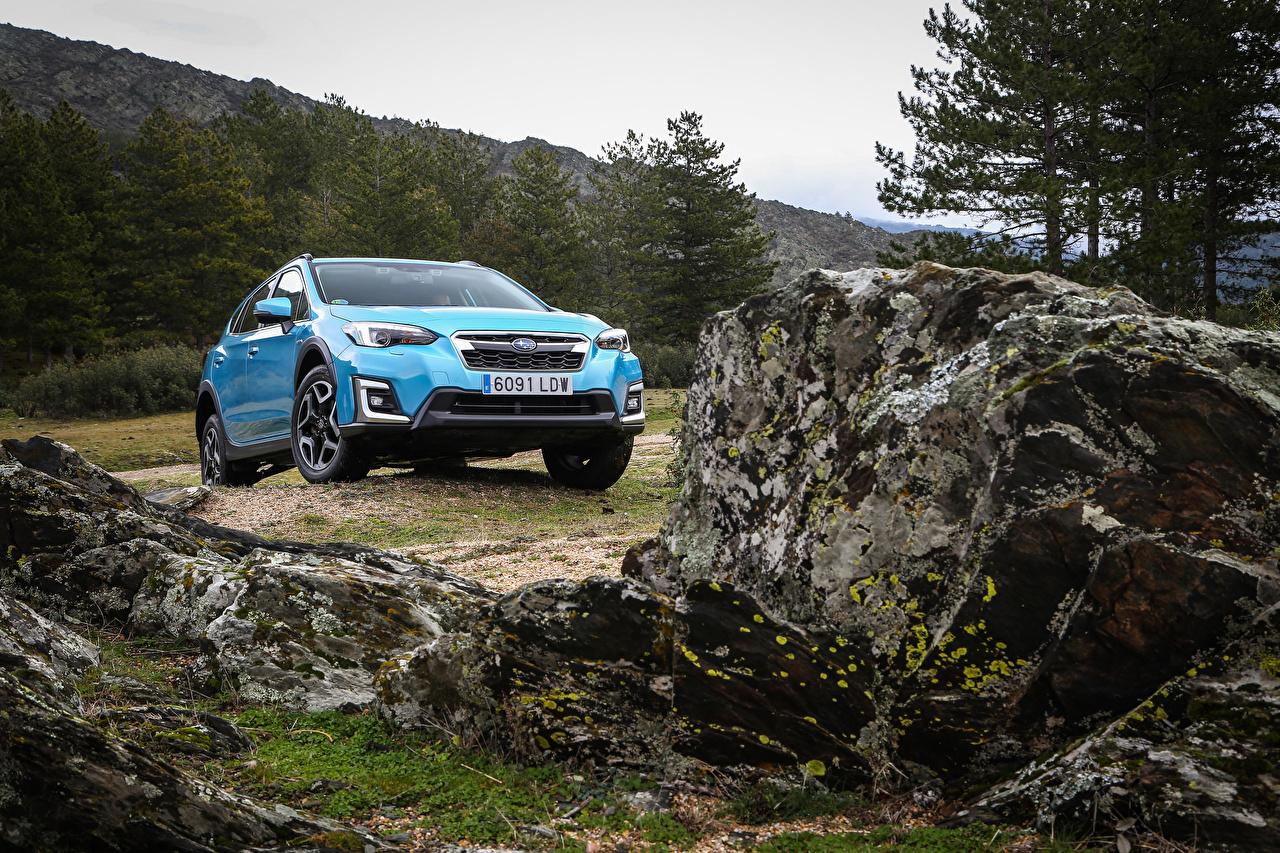 Bilder Subaru Crossover XV Eco Hybrid, ES-spec.2020 -- Hybrid Autos Hellblau Autos Metallisch Softroader auto automobil