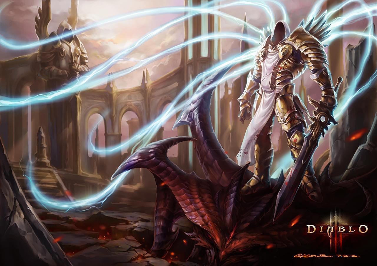 Achtergronden bureaublad Diablo Diablo III Magie Zwaard Een harnas monsters Archangel Tyrael Fantasy computerspel kap Monster videogames Computerspellen Met capuchon