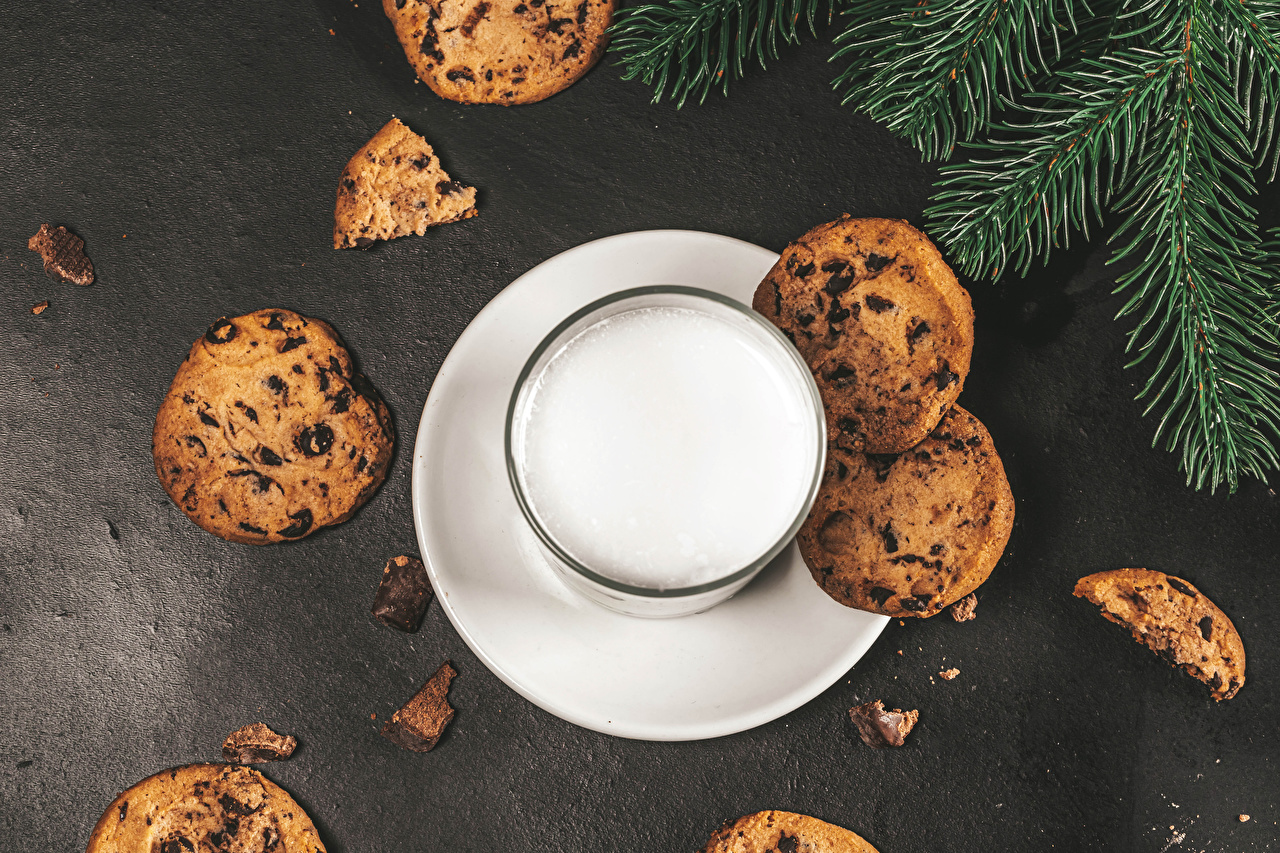 Pictures Milk Highball glass Food Cookies