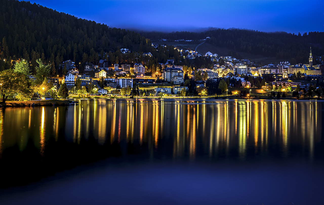 Images Switzerland St. Moritz Lake night time Cities Building Night Houses