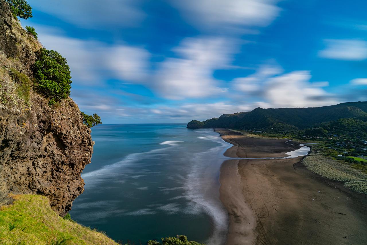 Images New Zealand Piha Beach Crag Nature Coast Rock Cliff