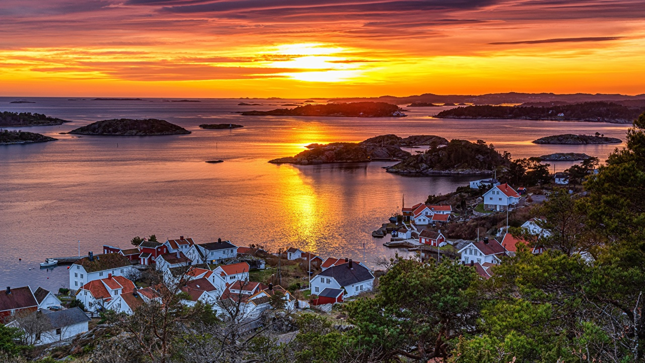 Picture Norway Arendal, Austagder sunrise and sunset Bay Horizon From above Houses Cities Sunrises and sunsets Building