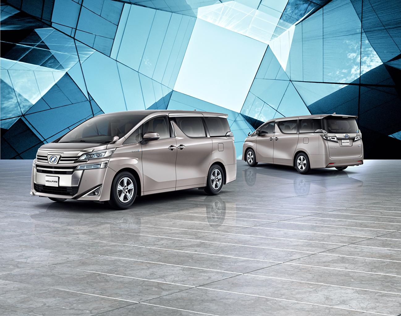 Desktop Hintergrundbilder Toyota 2018-19 Vellfire X Ein Van 2 graue auto Zwei Grau graues Autos automobil
