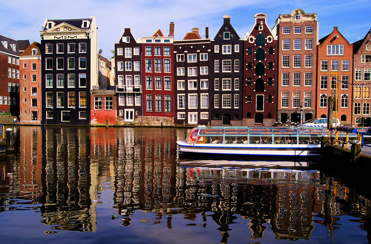 Wallpaper Riverboat Netherlands Canal Amsterdam Cities Building Houses