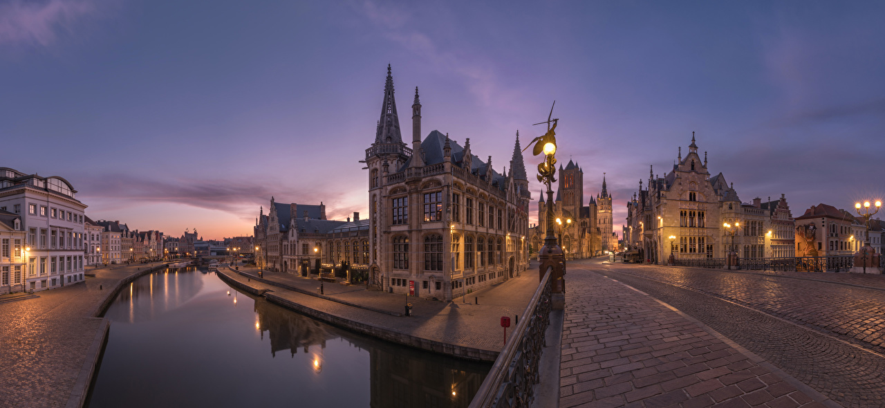 Desktop Wallpapers Ghent Belgium Canal bridge Street night time Street lights Houses Cities Bridges Night Building