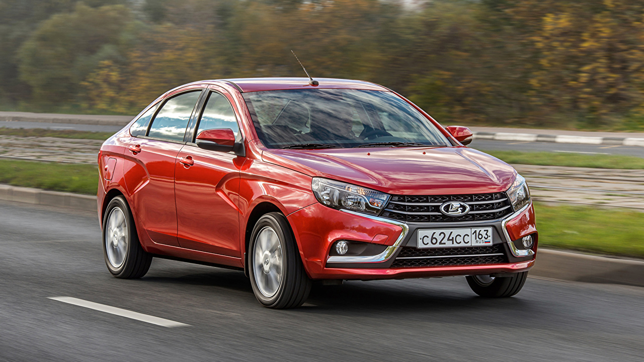 Pictures Lada Russian cars 2015-16 Vesta (GFL) Red at speed auto Metallic moving riding Motion driving Cars automobile