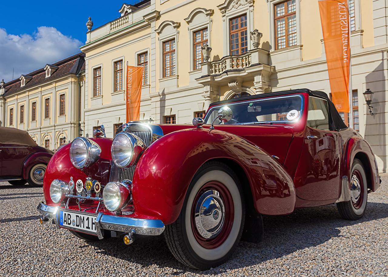 Photos 1947 Triumph 1800 Roadster Red antique Cars Metallic Retro vintage auto automobile