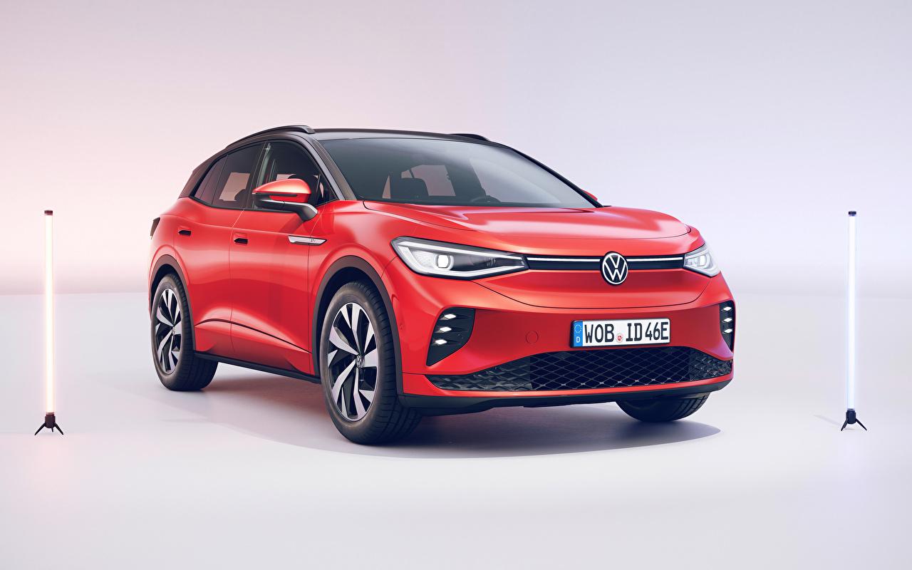 Foto Volkswagen Softroader ID.4 GTX (Worldwide), 2021 Rot auto Metallisch Crossover Autos automobil