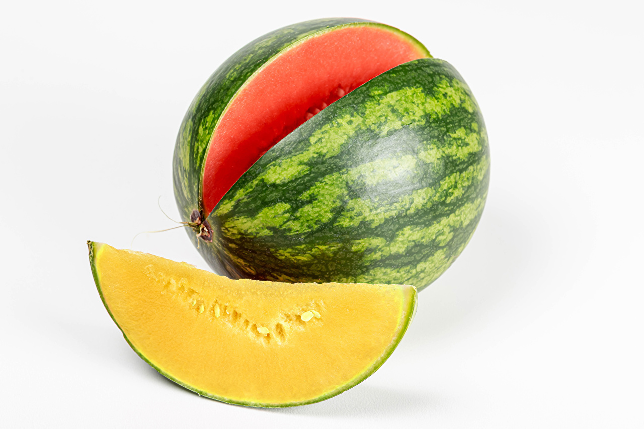 Image Piece Watermelons Food Closeup White background pieces